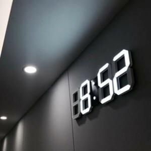 ■赤字覚悟!■インテリア 壁掛け時計 デジタル ウォールクロック LED 時計 目覚まし時計 常夜灯 ホワイト 選べる6色