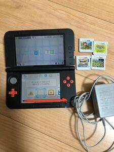 Nintendo 3DSLLオレンジブラック+ソフト4点+メモリーカード4GBのセット商品です。