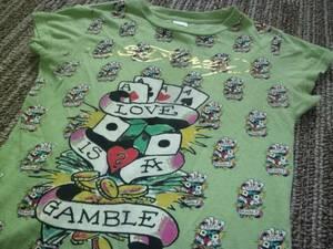 エド・ハーディー キラキラロゴが目立つTシャツ S~М