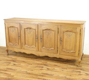 サイドボード 横幅のあるサイズ 4枚扉 猫脚 明るめ色 かわいらしいデザイン 収納家具 本物フランスアンティーク家具 63761