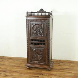 アンティーク キャビネット 幅71.5×奥44×高156cm 収納棚 飾り棚 フランスアンティーク家具 アンティークフレックス 63835