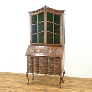 猫脚ブックビューロー 美しい彫刻 グリーンのガラス扉も印象的 フランスアンティーク家具 ディスプレイ 収納 ライティングデスク 63759