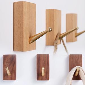 木製フック 強力粘着 ウォールフック ハンガー ウォルナット黄銅3+ブナ黄銅3