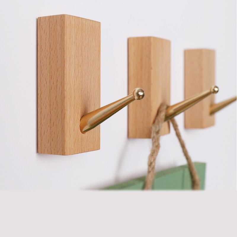 木製フック 強力粘着 ウォールフック バスタオルハンガー ブナ&黄銅6個セット
