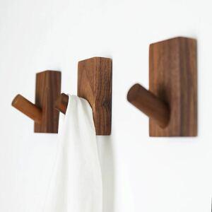 木製フック 強力粘着 ウォールフック バスタオルハンガー ウォルナット6個セット