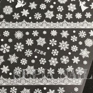 ネイルシール ステッカー 雪の結晶 エンジェル 天使 レース ホワイト【F284W】1081847