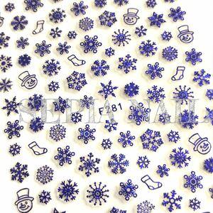 ネイルシール ステッカー 雪の結晶 スノーフレーク スノーマン ブルー【F281BL】10191847