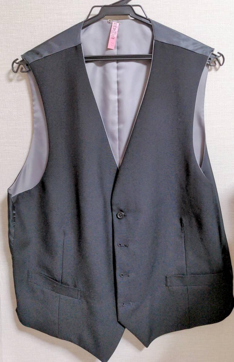 超美品 表裏着用可能 クリーニング スリーピース シャツ ベスト 白 黒 ブラック ホワイト 定価28000円 フリーサイズ