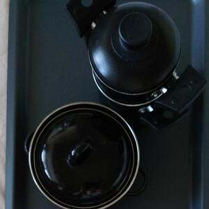ソロキャンプ用鍋2個セットうち一つはブラジルのマルチフロン社の蒸し器鍋です。
