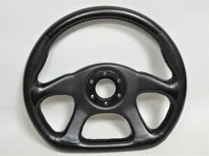 売り切り 美品メーカー不明 D型 レザーステアリング ナルディ MOMOトリノ F1 フェラーリ AE86 レビン トレノ RX-7 FD3S FC3S ポルシェ911
