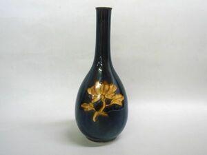 九谷焼 東方四十吉 深厚釉牡丹文 花器 花瓶 一輪挿し 高さ24cm 共箱