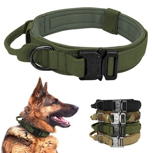ペット用首輪 頑丈 戦術的 犬の首輪 ハンドル付き 耐久性のある 調整可能 ペットの首輪 中型 大型犬 カッコいい 丈夫 アウトドア