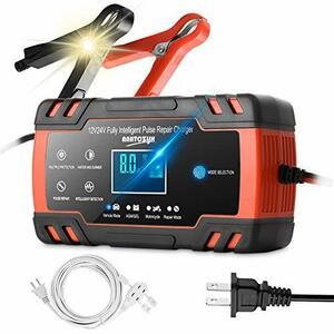 Sanvu Sanvu バッテリー充電器 バイク 自動車用 全自動 バッテリーチャージャーメンテナンス充電器 大電流 LEDランプ