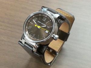 LOUIS VUITTON ルイヴィトン タンブール Q1211 動作OK ブラウン QZ レディース 腕時計 中古B品