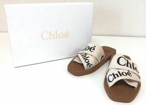θ Chloe/クロエ Woody サンダル 37 24㎝ ブラウン×ホワイト レディース フラットミュール 靴 ロゴバンド 箱/保存袋 S29704310602