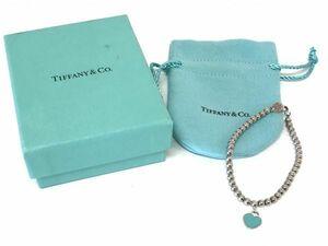 θ Tiffany&Co./ティファニー リターントゥ ミニハート タグ ビーズ ブレスレット SV925 ブルー 26659604 箱/保存袋 S59249710217