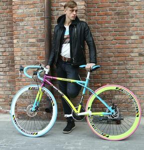 人気推薦◆高品質変速自転車ソリッドタイヤ超軽い自転車道路レース手軽ディスクブレーキ学生用男女単車24速40カッターリング28500未使用
