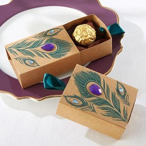 ギフトボックス 50個セット 孔雀の羽 クラフト バレンタイン お誕生日会 結婚式 ラッピング プレゼント AT12249