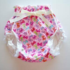 【新品】大人用おむつカバー M リボン×リボン(ピンク) 腰ひも×レース フィラインベイビーズ/Feline Babies