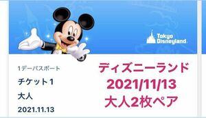 11月13日(土) ディズニーランド ワンデーパスポート 大人2枚 ディズニー チケット