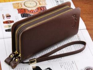 残り僅か!1円~ 新品 新作 メンズ 長財布 カード収納16 大容量 小銭入れあり ダブルラウンドファスナー チョコレート(取っ手付き)