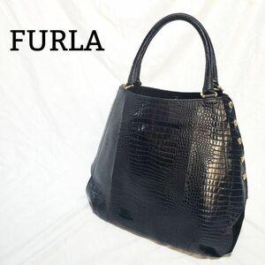 【美品】FURLA フルラ トートバッグ クロコ型押し×スエード 黒 ゴールド金具