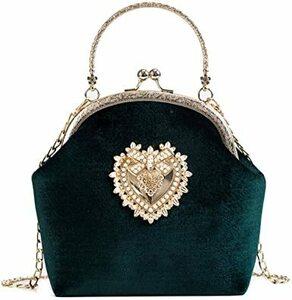 グリーン がま口 バッグ 2Way レトロなハンドバッグ ショルダーバッグ ガマ口バッグ アンティーク調 クラシックバッグ か