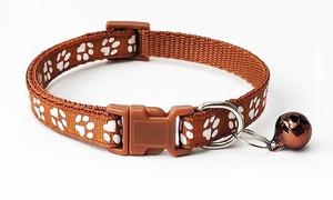 送料120円~ 犬 猫 用 首輪 肉球模様 ブラウン バックル止め 長さ調整可能