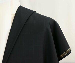 ●幻の藤井毛織・ハイグレード「タスマニア コレクション」黒の地織に上品過ぎるウインドペン・微妙なハリとコシで心地良し・長さ3.2m