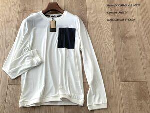 新品 COMME CA MEN コムサメン 日本製 ヒートウェルディングTシャツ 01ホワイト Lサイズ 40TF05 定価16,500円