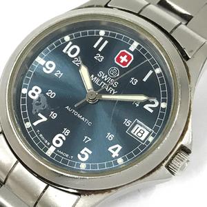 スイスミリタリー 腕時計 ラウンド デイト ネイビー文字盤 裏スケルトン 自動巻き メンズ 純正ベルト ジャンク