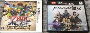 3DS,new3DS ゼルダ無双ハイラルオールスターズ+ファイアーエムブレム無双 動作確認済み送料無料