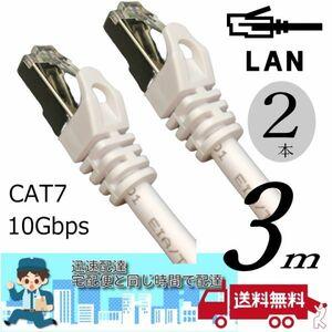 お買い得【2本セット】LANケーブル 3m Cat7 高速転送10Gbps/伝送帯域600Mhz RJ45コネクタツメ折れ防止 ノイズ対策シールドケーブル □■