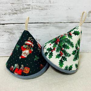 三角鍋つかみ ミトン2個セット クリスマス柄