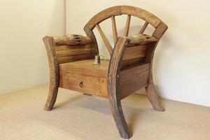『癒し』アンティーク*チーク古木自然杢*オールドチーク*古い木*ビンテージ家具*オブジェ*珍しい*貴重*大きな椅子☆車輪シングルベンチ