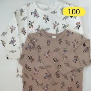 フタフタ レトロミッキー 総柄 バースデイ ロンT トップス 100 長袖 Tシャツ