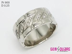 【値下げ交渉可】Pt900 ダイヤモンド リング 指輪 メンズ D0.25 20.3g 20.5号 仕上げ済【質屋出店】