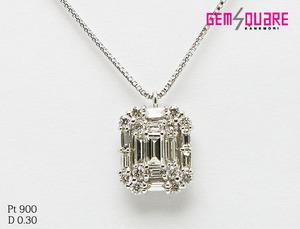 【値下げ交渉可】PT ダイヤモンド ネックレス バゲット D0.30 2.2g 44cm 仕上げ済【質屋出店】