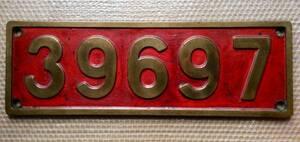 蒸気機関車 39697 (9600型) 赤ナンバープレート 本物