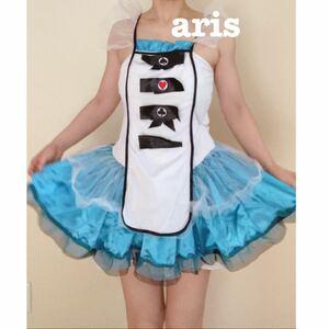 アリス衣装 コスプレ衣装 コスプレ Halloween ハロウィン 衣装 仮装 ミニスカート ドレス 水色 ブルー