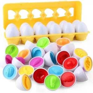たまご パズル おもちゃ 知育 12卵 赤ちゃん つまみ付き野菜 色