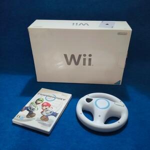 任天堂 Wii すぐに遊べる本体 マリオカートやハンドル リモコンと箱付セット