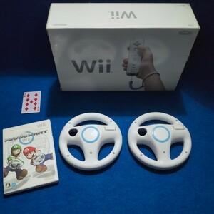 任天堂 Wii 2人で遊ぶ本体 マリオカートやハンドル リモコンと箱付セット