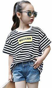 ブラック 140 女の子 長袖 半袖 tシャツ ボーダー トップス 夏 春 秋 韓国 綿 子供服 110-160