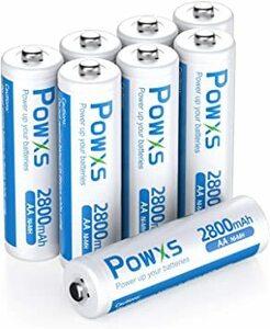 単3電池 8個パック POWXS 単三電池 充電式電池 ニッケル水素電池 超大容量2800mAh 約1500回使用可能 ケース