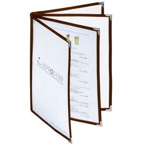 【送料A区分】訳あり即納 メニューブック 8ページ(4枚8面) B5対応 中綴じ 茶 メニュー表 お品書き ファイル テーピング