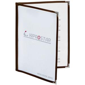 【送料A区分】訳あり 即日発送 メニューブック 4ページ(2枚4面) B5対応 茶 メニュー表 お品書き ファイル テーピング