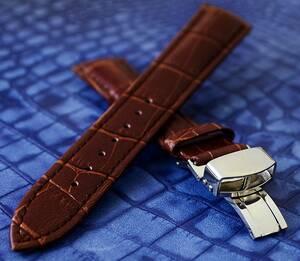 1円から! 18mm本革腕時計ベルトクロコダイル型押Dバックル茶 バネ棒 交換用バンド