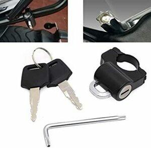 マットブラック ALPHA RIDER 汎用 ヘルメットホルダー キット 鍵と特殊なレンチ付き 22mmのハンドルバー対応 盗難
