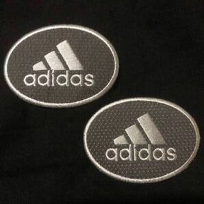 adidas アディダス 2枚セット アイロンワッペン ワッペン 刺繍ワッペングレー